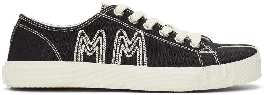 Maison Margiela 黑色 Tabi 刺绣帆布运动鞋