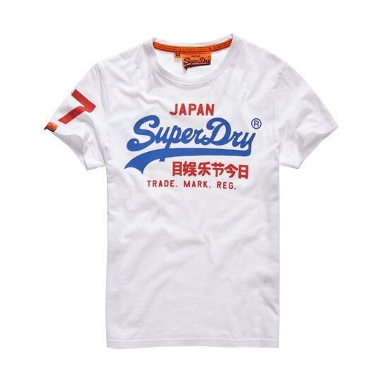 跩狗嚴選 極度乾燥 Superdry Logo T-Shirt 短袖 上衣 重磅純棉 經典款 光學白 T恤 白T 藍紅