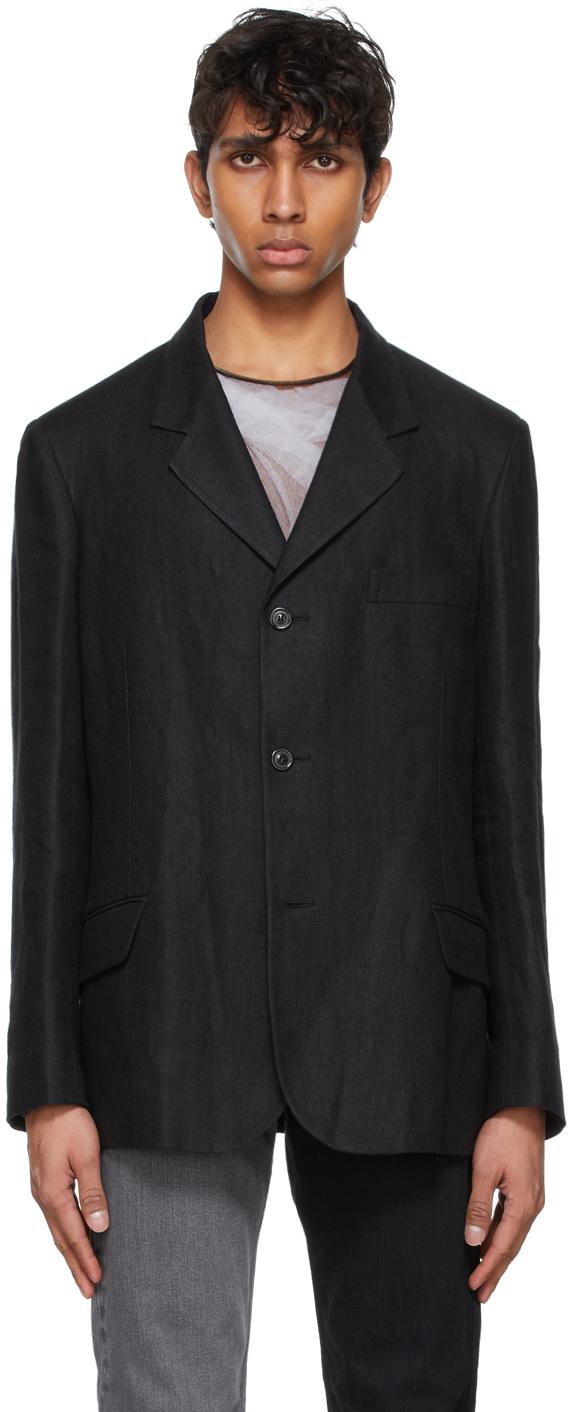 Maison Margiela 黑色亚麻西装外套