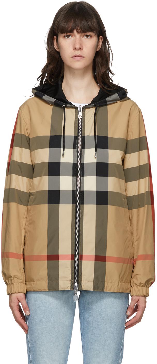 Burberry 驼色 Stretton 双面格纹夹克