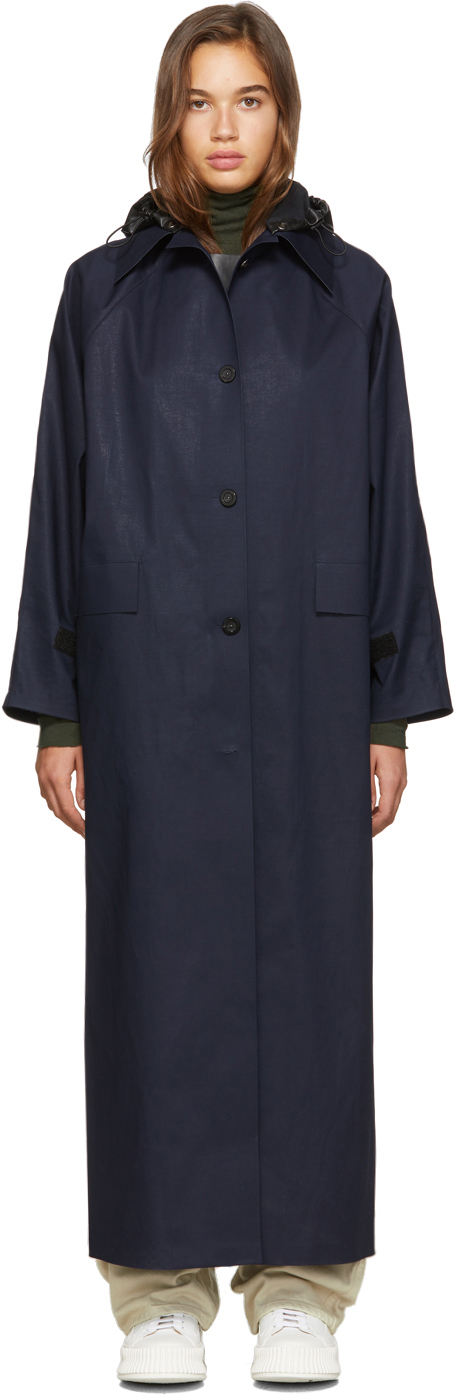 KASSL Editions SSENSE 独家发售海军蓝帆布风衣