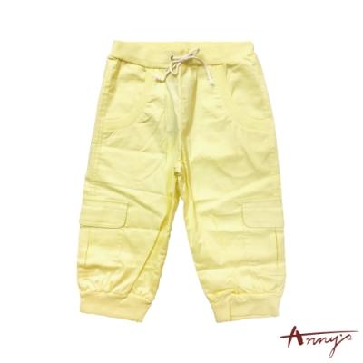 Annys個性鮮豔黃鬆緊綁帶五分褲*0321黃色