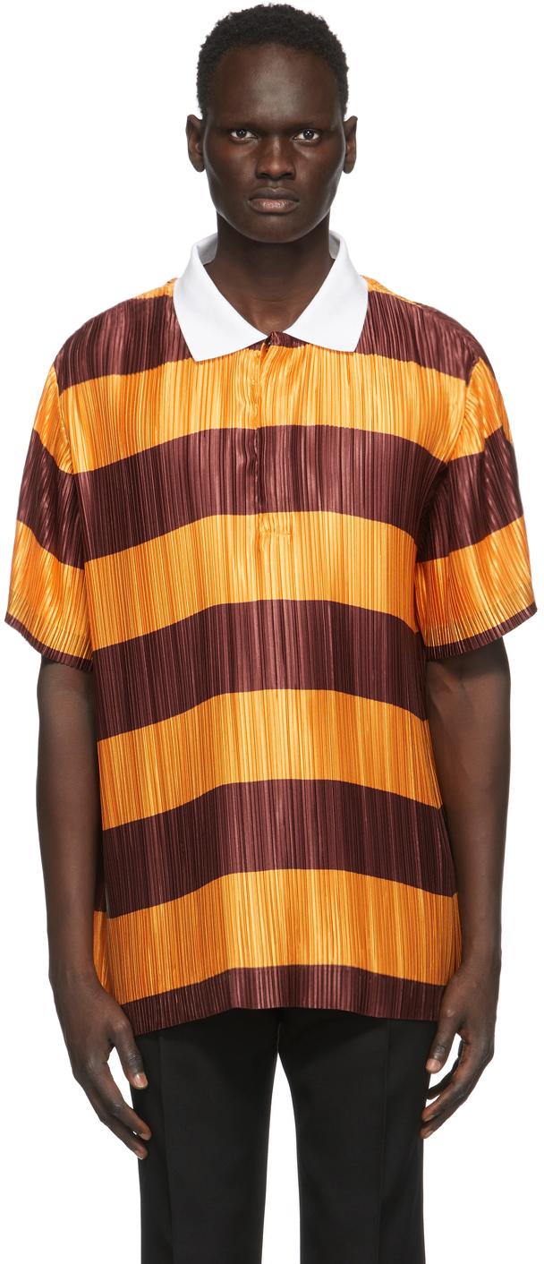 Burberry 橙色 & 酒红色褶裥 Polo 衫