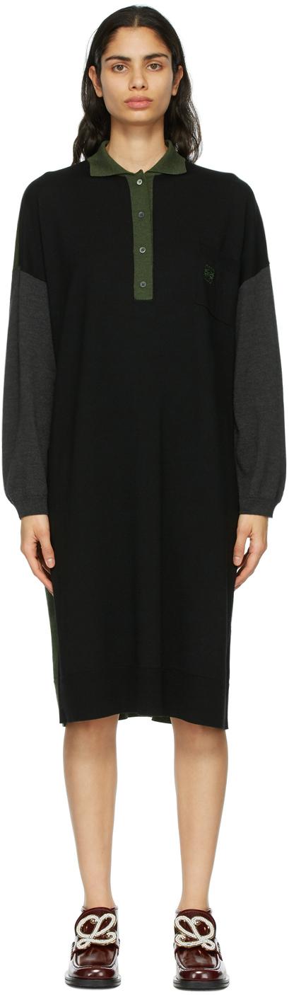 Loewe 黑色 Anagram 大廓形羊毛连衣裙