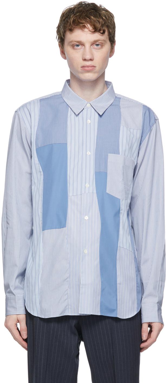 Comme des Garçons Homme Deux 蓝色条纹拼接衬衫