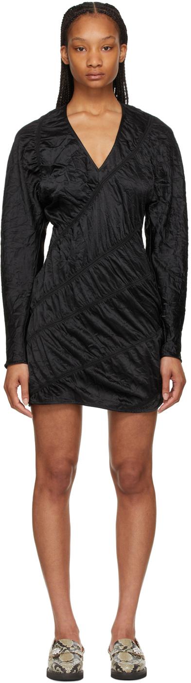 GANNI 黑色褶皱缎面连衣裙