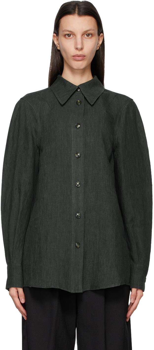 LOW CLASSIC 绿色亚麻衬衫