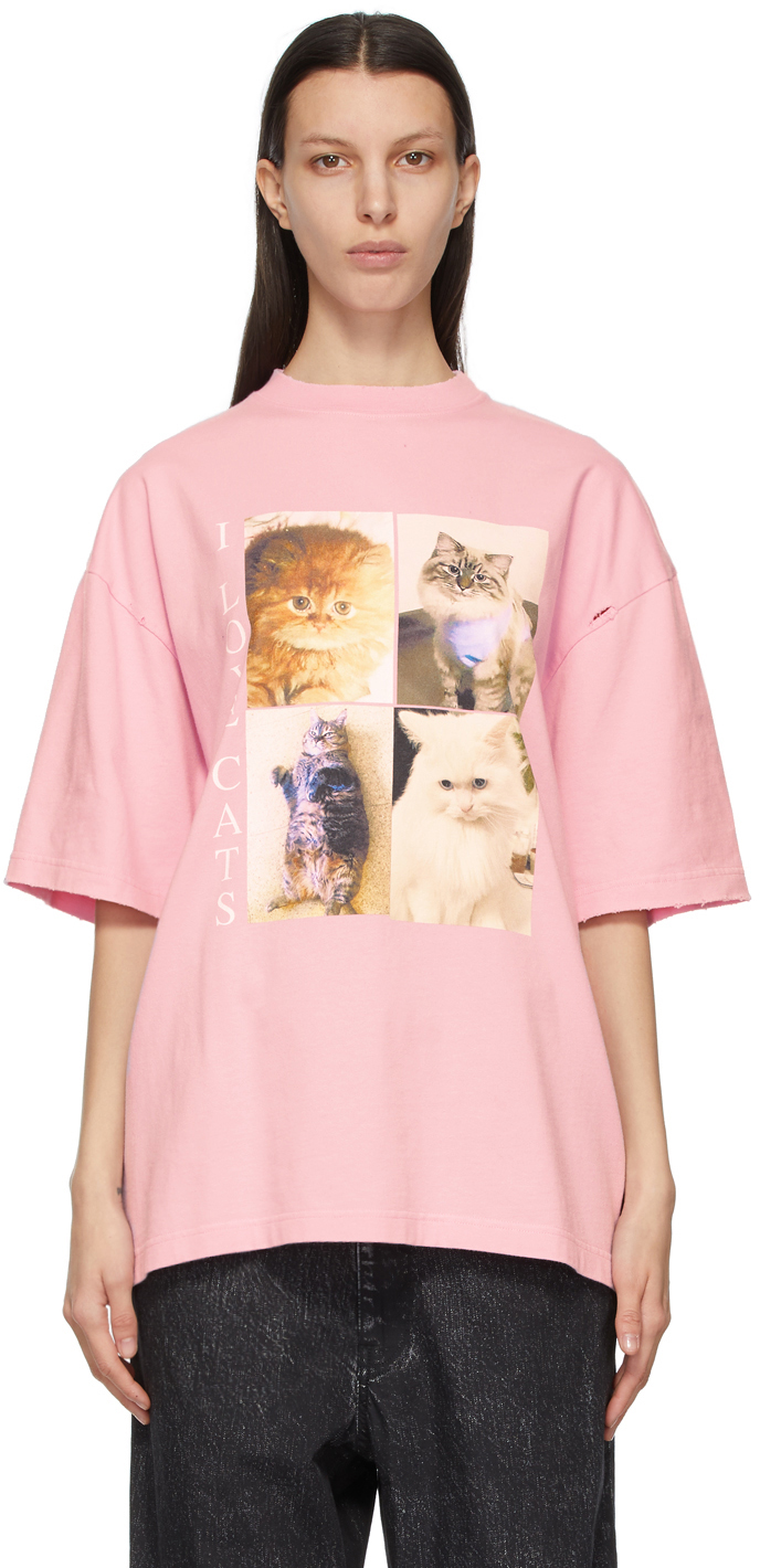 "Balenciaga 粉色 I LOVE PETS 胶囊系列""I Love Cats"" XL Fit T 恤"
