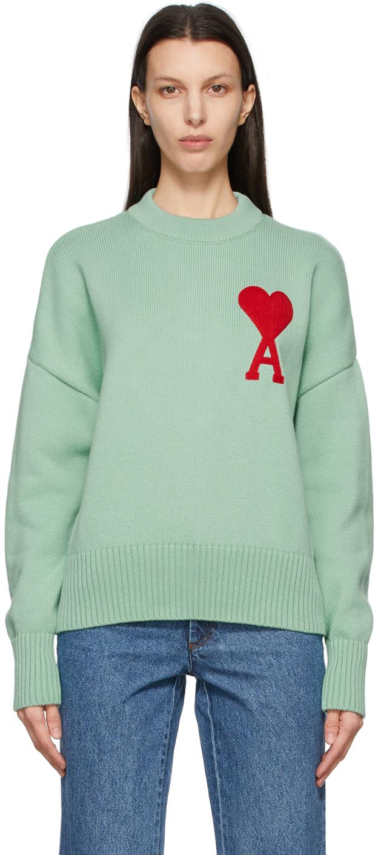 AMI Alexandre Mattiussi 绿色 Ami De Coeur 大廓形针织衫