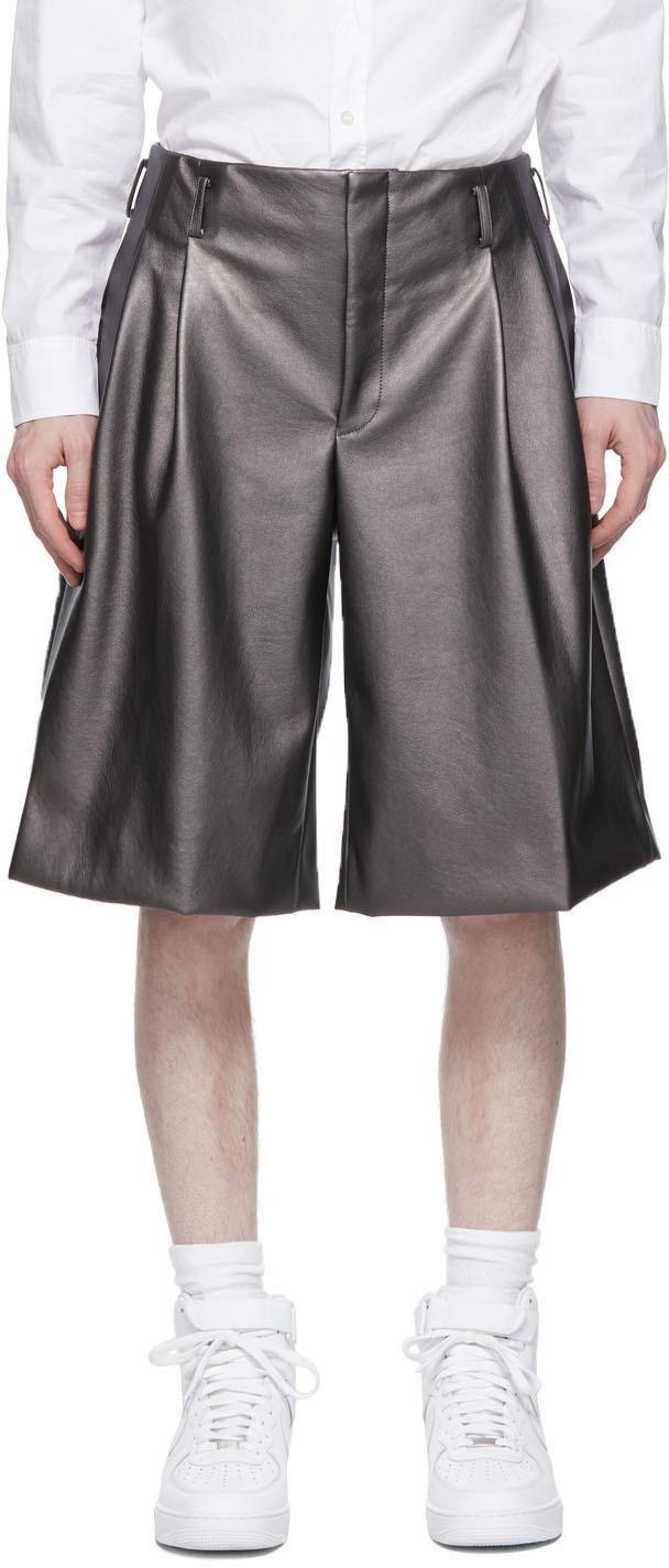 Comme des Garçons Homme Plus 银色合成皮革短裤
