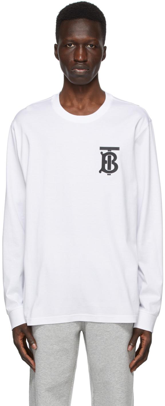 Burberry 白色 TB Monogram Atherton 长袖 T 恤