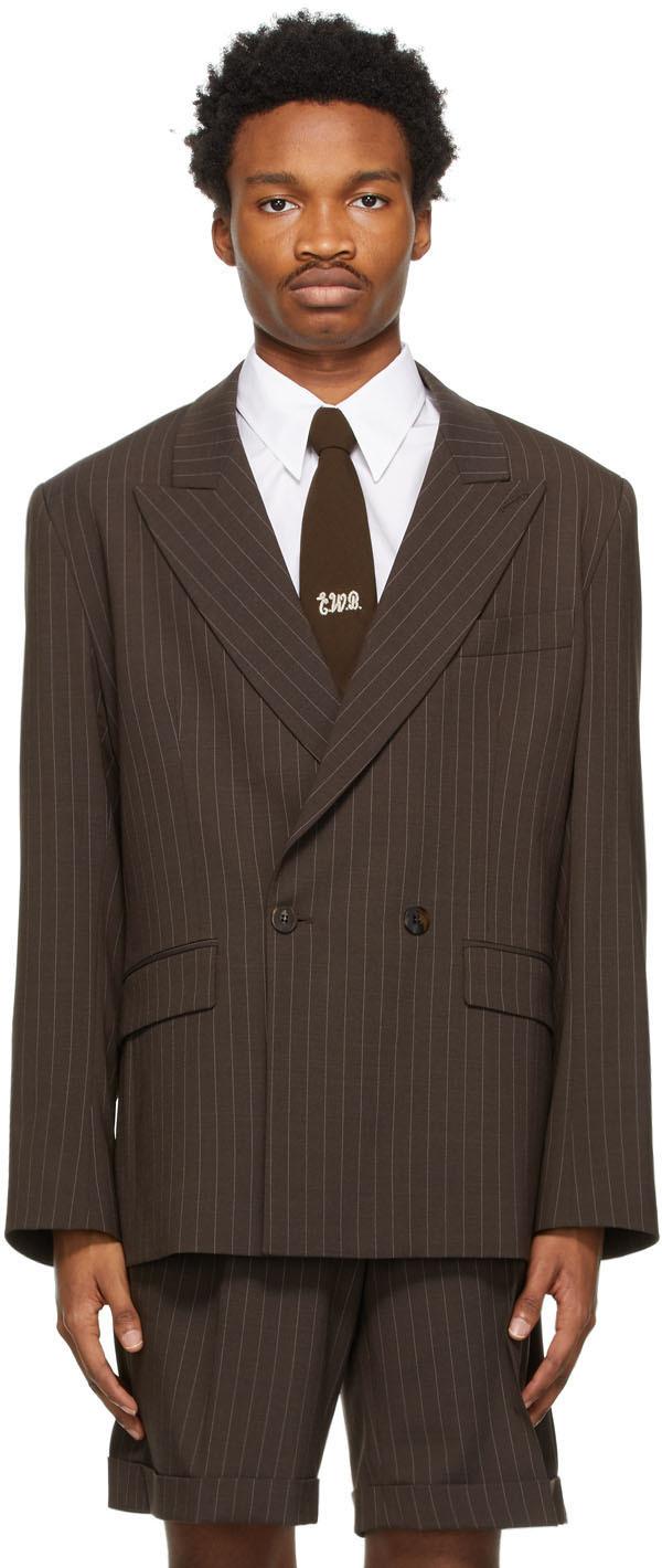 Ernest W. Baker 棕色细条纹双排扣西装外套
