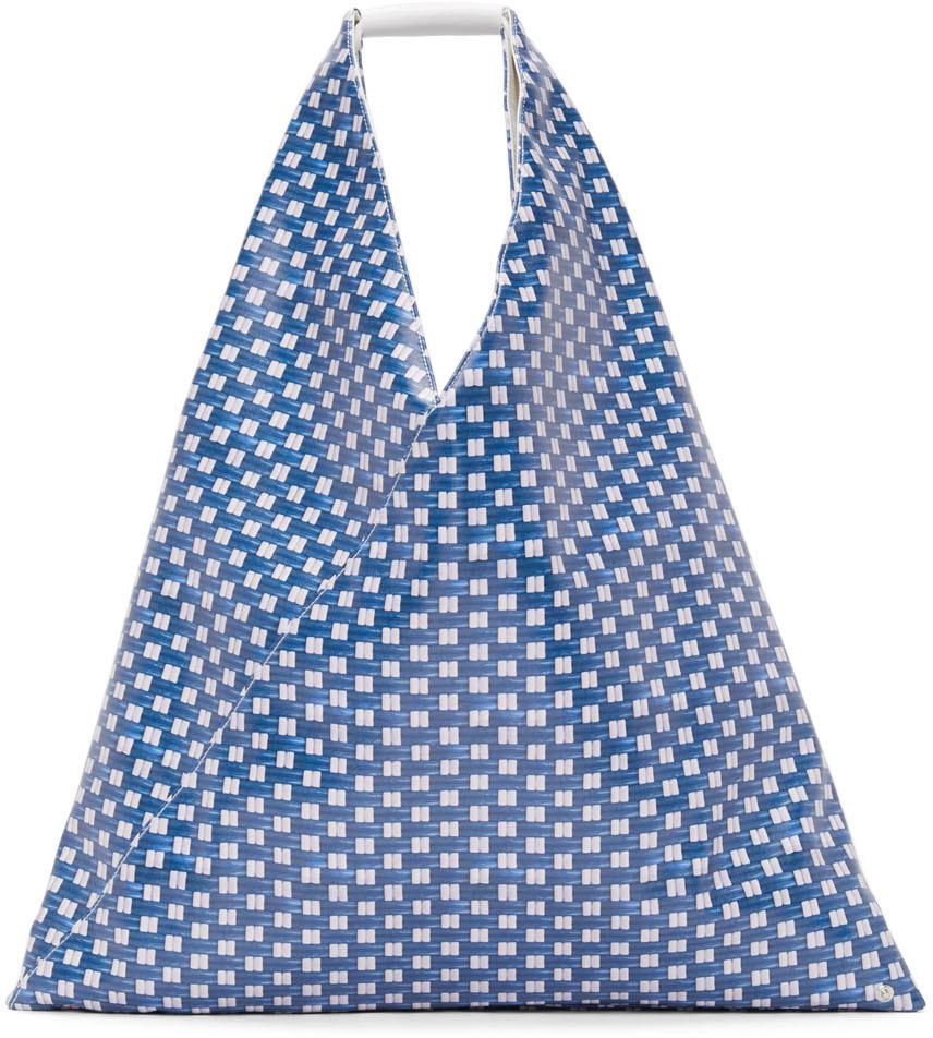 MM6 Maison Margiela 蓝色中号 Triangle 合成皮革托特包