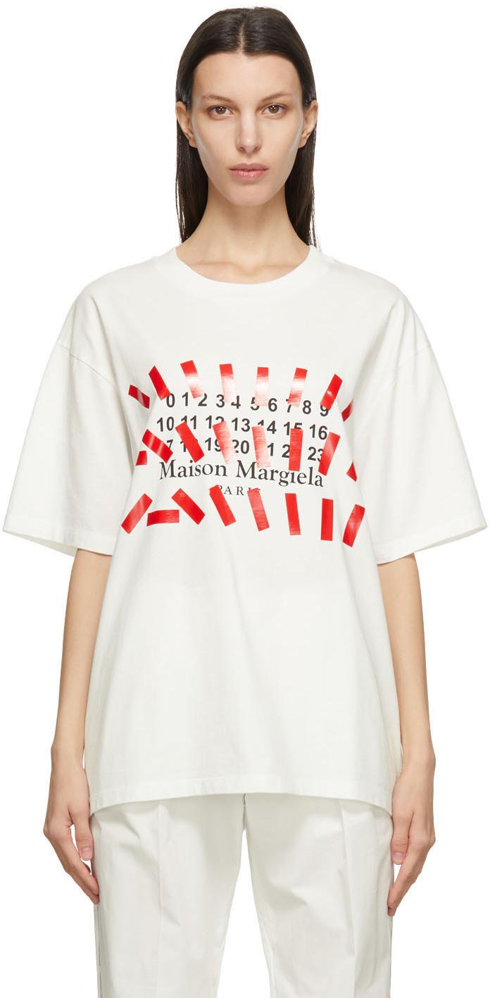 Maison Margiela 灰白色 Tape Print 大廓形 T 恤