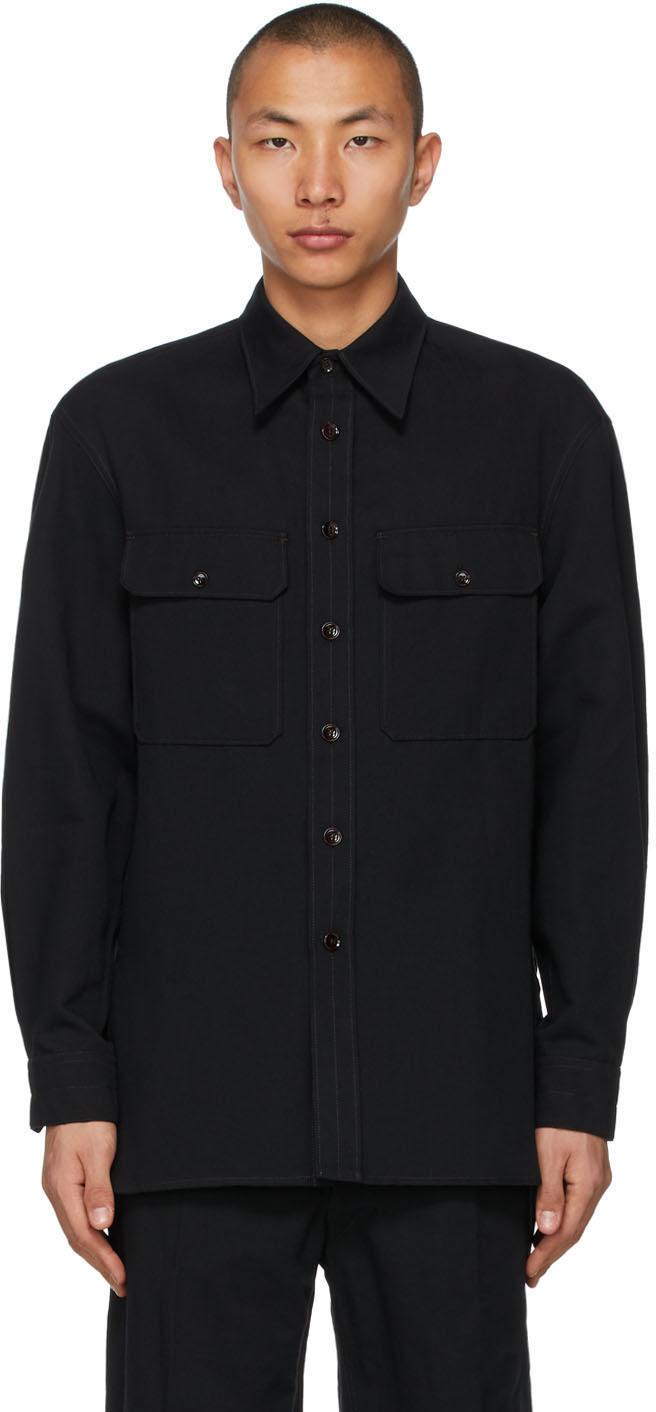 Lemaire 黑色 Officer 衬衫