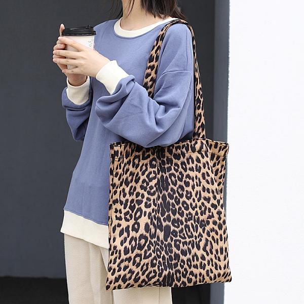 街頭潮流女包包 韓版女款簡約大包包 大容量復古女士托特包 時尚女生單肩包 豹紋帆布托特包