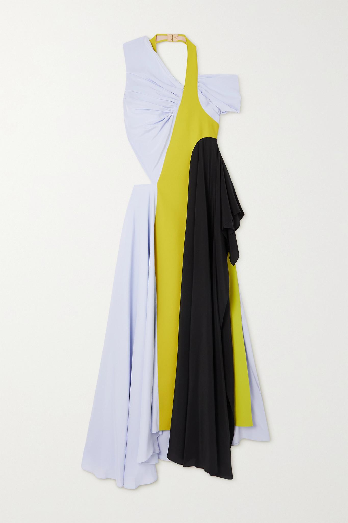 NINA RICCI - Colour-block Cutout Gathered Silk Crepe De Chine Dress - Blue - FR38