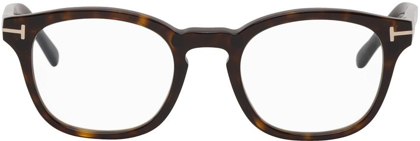 TOM FORD 玳瑁色防蓝光圆框眼镜