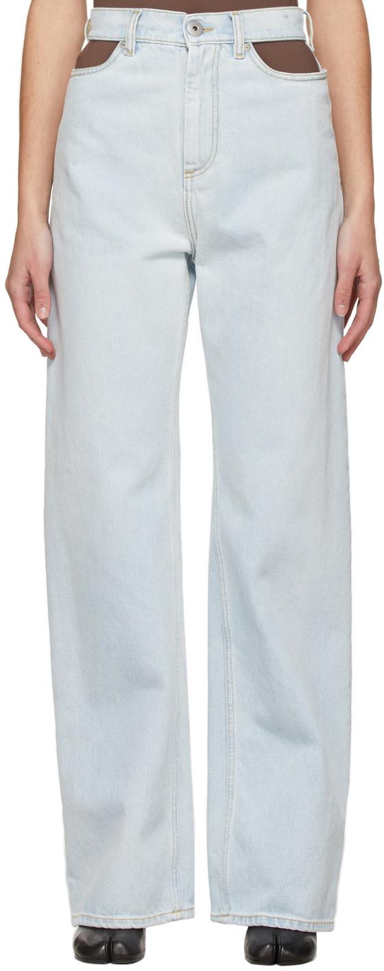 Maison Margiela 蓝色镂空牛仔裤