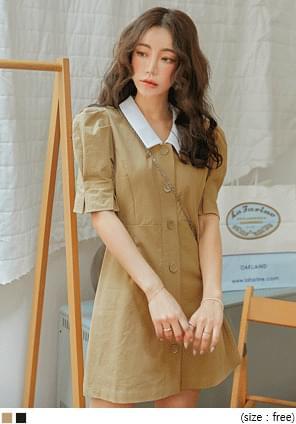 韓國空運 - 配色翻領公主袖排釦洋裝 迷你短洋裝