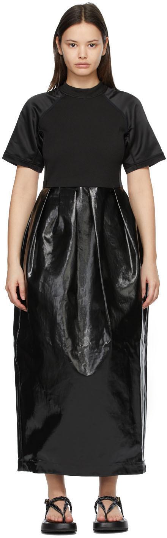 Meryll Rogge 黑色涂层亚麻连衣裙