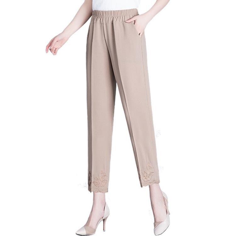 九分褲 媽媽褲子夏季薄款九分褲雪紡繡花中老年人女褲鬆緊高腰奶奶褲直筒