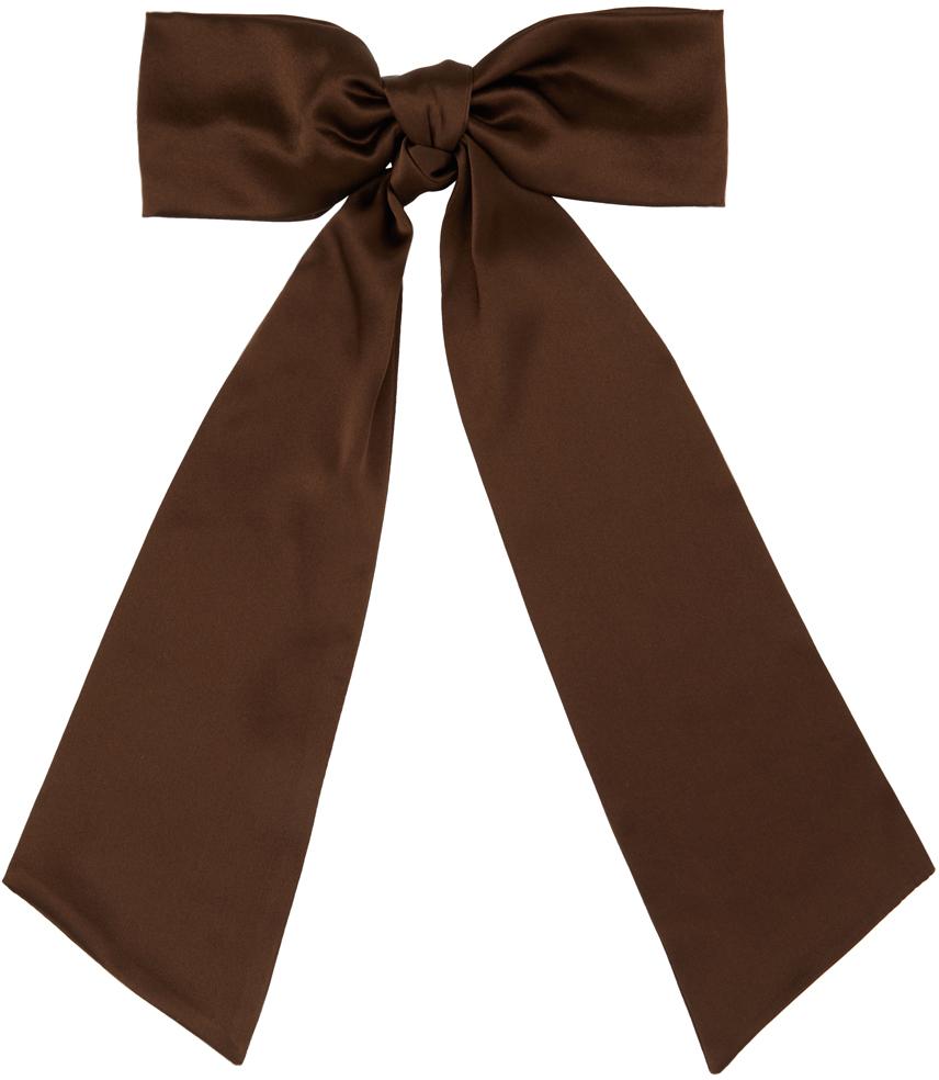 Sophie Buhai 棕色 Oversized Bow 缎面发夹