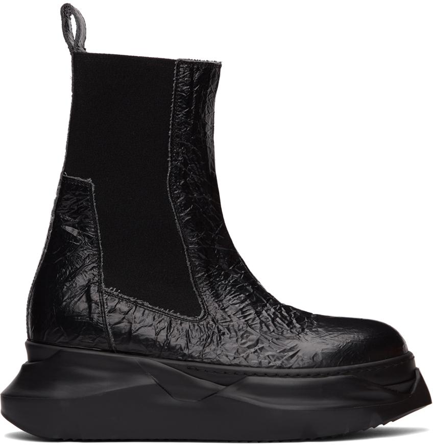 Rick Owens Drkshdw 黑色 Abstract Beetl 褶皱切尔西靴