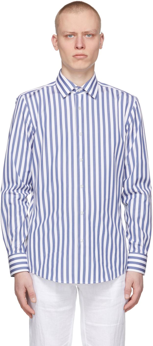 BOSS 蓝色 & 白色 Jango 条纹衬衫