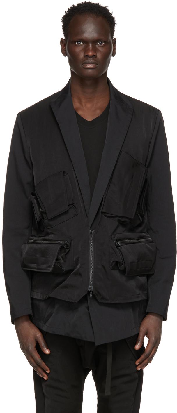 Julius 黑色 Cargo Vest 西装外套