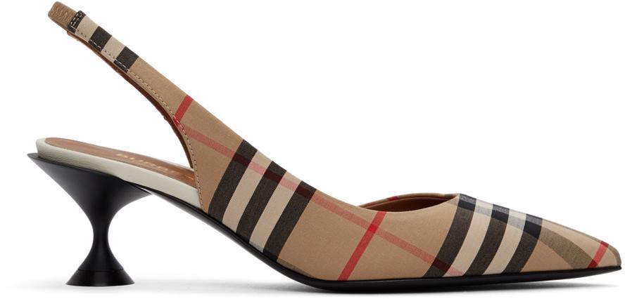 Burberry 驼色 Vintage Check 露跟低跟鞋