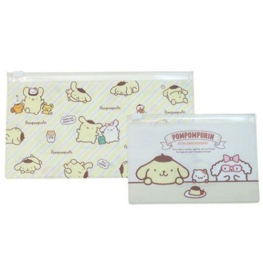 小禮堂 布丁狗 橫式方形透明夾鏈袋組 文具袋 糖果袋 飾品袋 (2入 黃 25週年)
