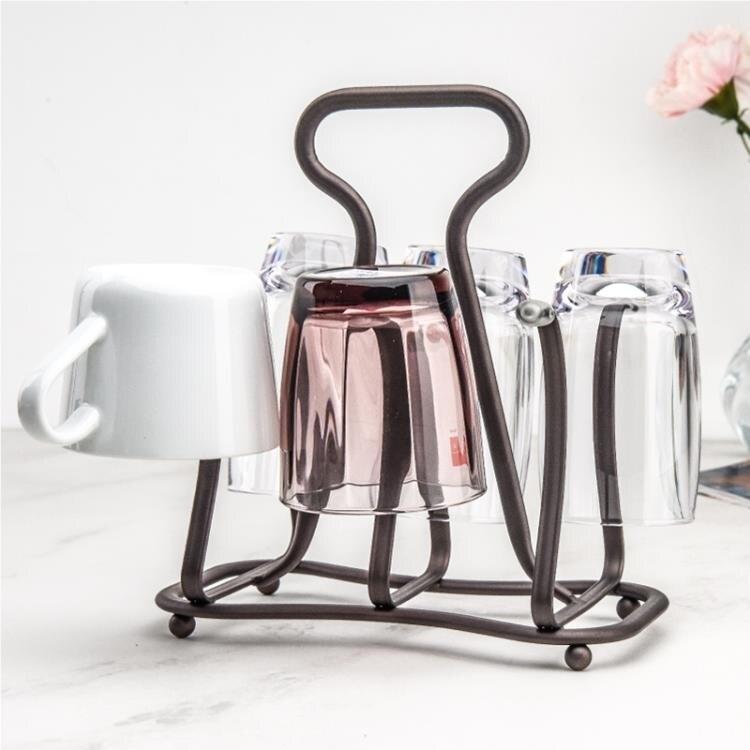 日式杯架 鐵藝水杯架子玻璃杯咖啡杯瀝水架水杯掛架