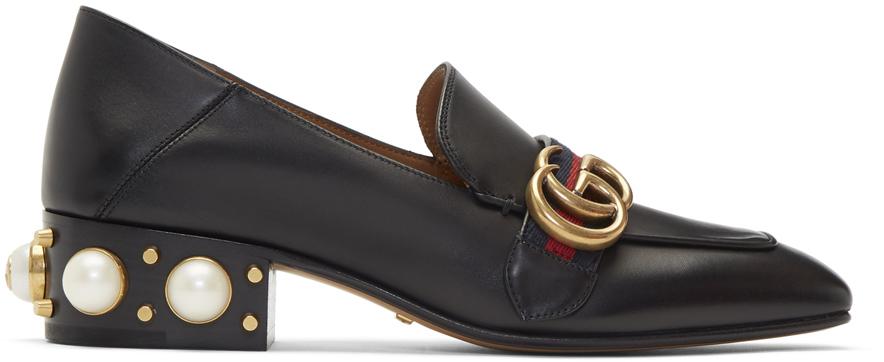 Gucci 黑色 Peyton 珍珠低跟乐福鞋