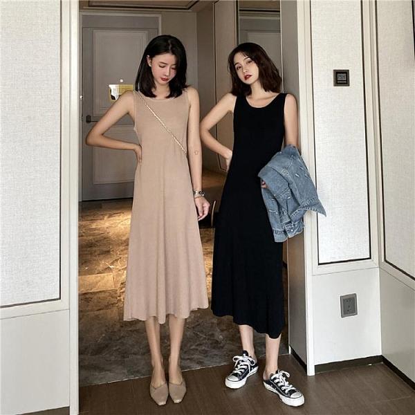 無袖針織連身裙女2021春夏新款黑色過膝打底背心裙中長款吊帶長裙 伊蘿