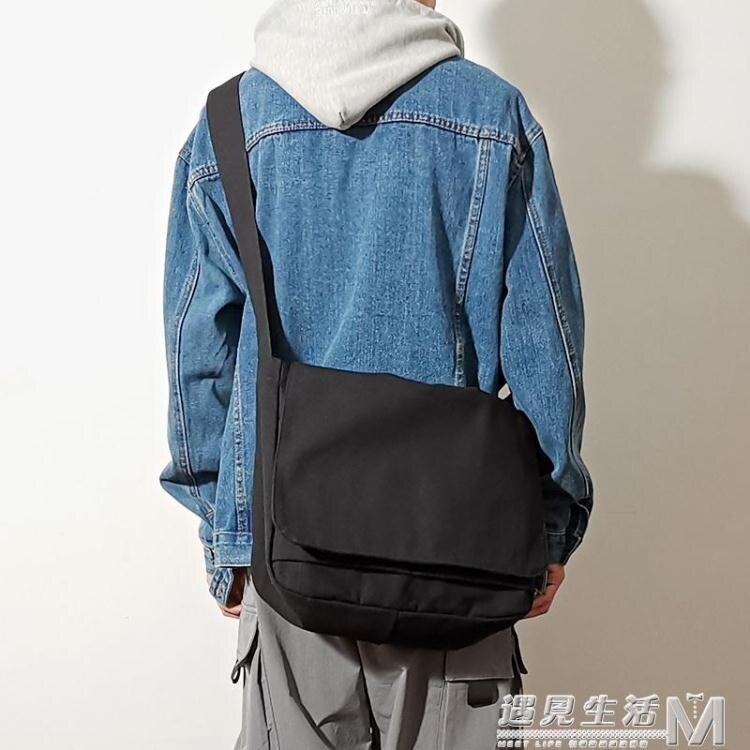 原宿簡約單肩包帆布側背包休閒百搭學生書包大容量男士背差包