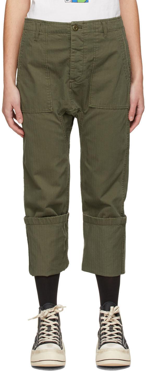 R13 军绿色 Utility Drop Crotch 长裤