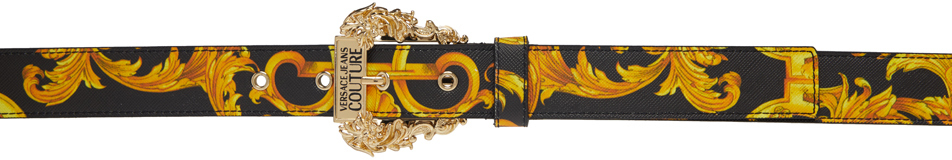 Versace Jeans Couture 黑色 Baroque 十字纹腰带