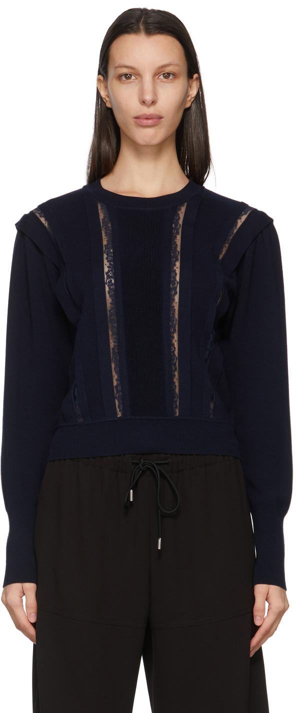 Chloé 海军蓝蕾丝羊毛毛衣