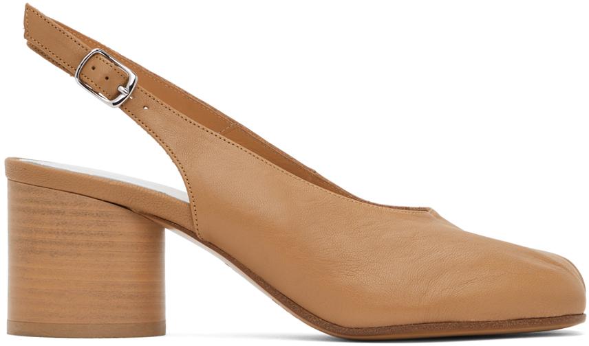 Maison Margiela 黄褐色 Tabi 后系带中跟鞋