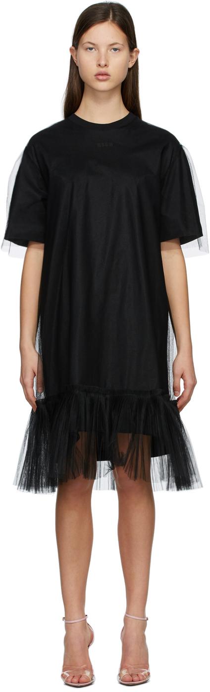 MSGM 黑色薄纱罩层连衣裙
