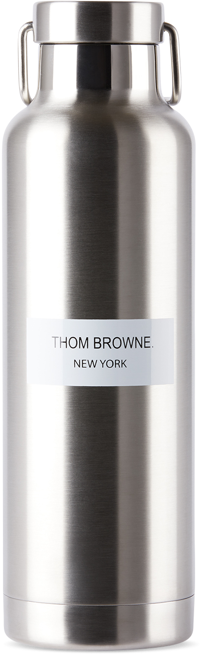 Thom Browne 银色不锈钢徽标水壶 24oz