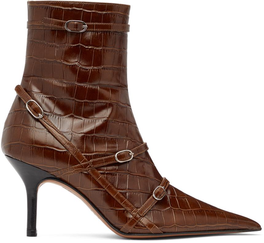 Abra SSENSE 独家发售棕色 Belt 踝靴