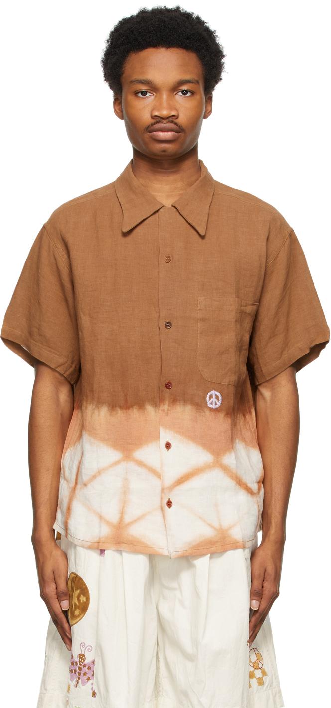 STORY mfg. 棕色 Shore 有机棉短袖衬衫