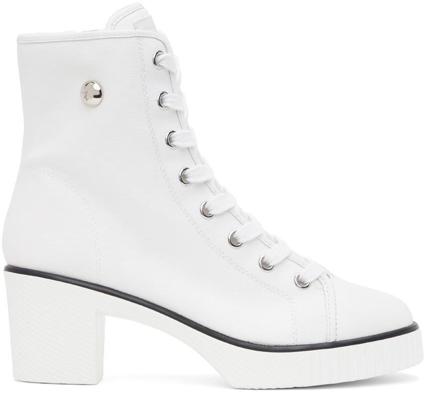 Giuseppe Zanotti 白色 Kana 中跟踝靴