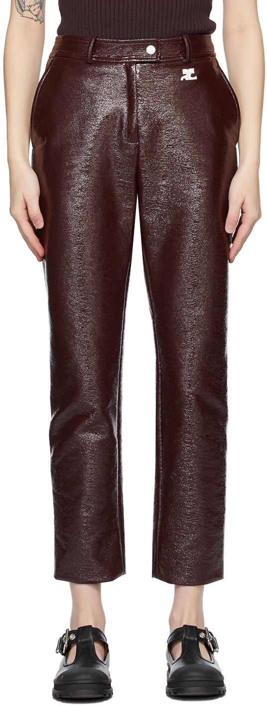 Courrèges 酒红色徽标长裤