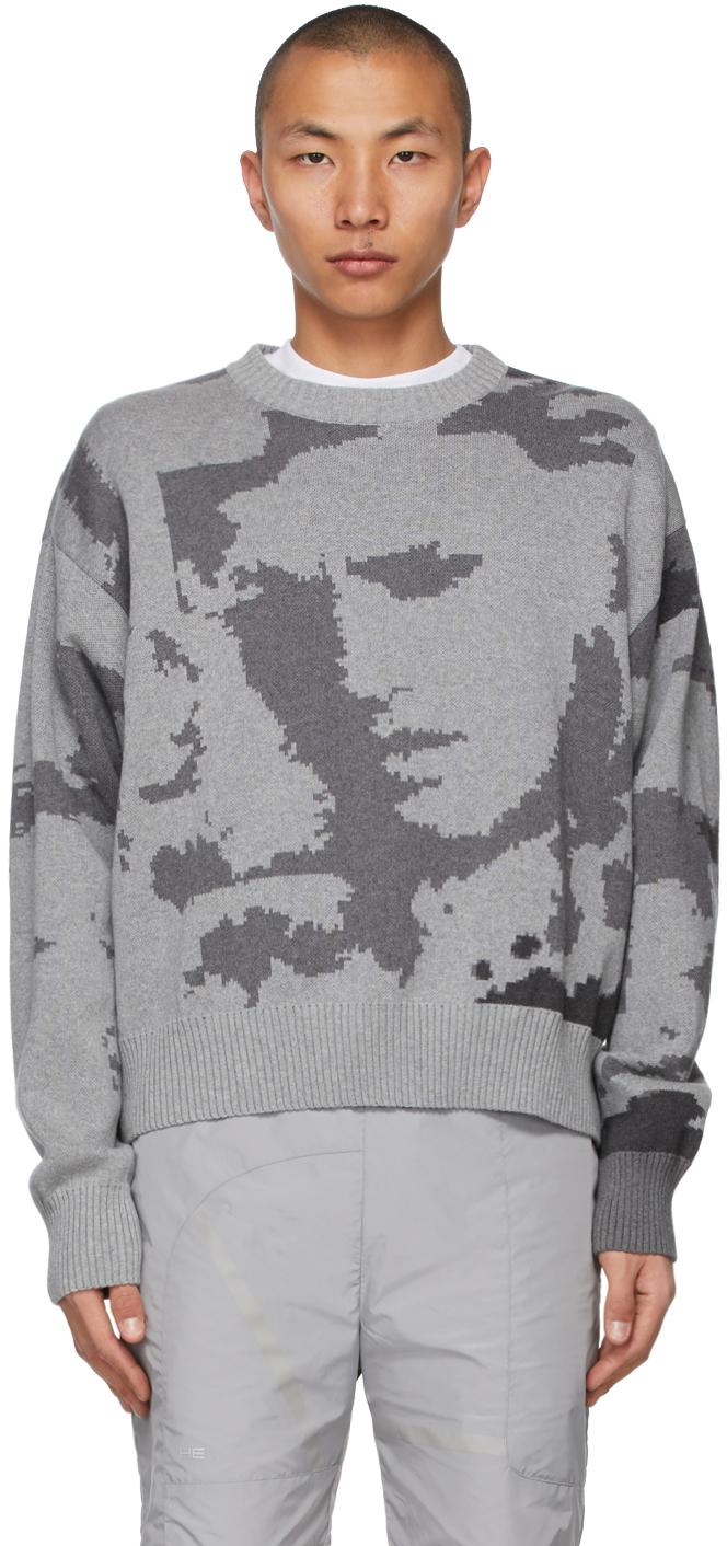 Heliot Emil 灰色 Artwork 有机棉提花针织衫