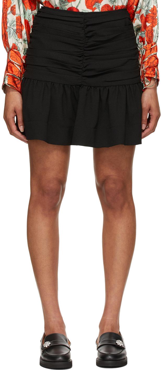 GANNI 黑色绉纱短裙