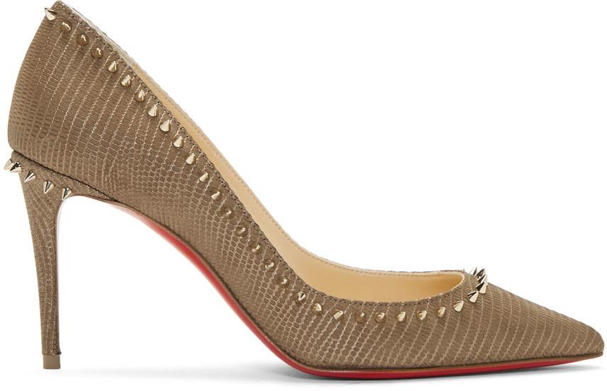 Christian Louboutin 灰褐色 Anjalina 85 鳄鱼纹高跟鞋