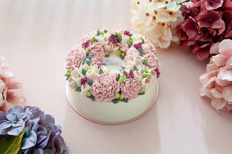 【母親節蛋糕】6吋 滿馨歡喜/康乃馨/花蛋糕/5-7天發貨